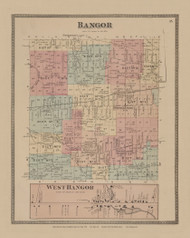 Town of Bangor and West Bangor Village, New York 1876 - Old Town Map Reprint - Franklin Co. Atlas