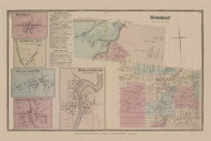 Town of Bombay and Bombay, Goodwins Mill, Brainardville, Popeville, and Hogansburg Villages, New York 1876 - Old Town Map Reprint - Franklin Co. Atlas