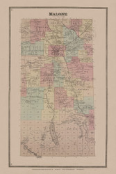 Malone, New York 1876 - Old Town Map Reprint - Franklin Co. Atlas