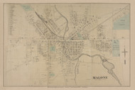 Malone Village, New York 1876 - Old Town Map Reprint - Franklin Co. Atlas