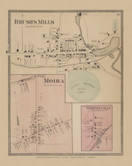 Brush's Mills and Moira and Whippleville Villages, New York 1876 - Old Town Map Reprint - Franklin Co. Atlas