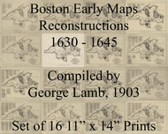 "Boston Early Maps 1630-1645 - Set of 16 11"" x14"" Prints"