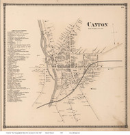 Canton Village, New York 1865 - Old Town Map Reprint - St. Lawrence Co. Atlas