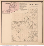 Edwards & Edwards Village, New York 1865 - Old Town Map Reprint - St. Lawrence Co. Atlas