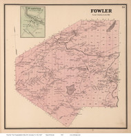 Fowler & Fullerville, New York 1865 - Old Town Map Reprint - St. Lawrence Co. Atlas