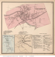 Governeur, Little York, & Hailesboro Villages, New York 1865 - Old Town Map Reprint - St. Lawrence Co. Atlas