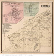 Hermon, Hermon Village and Marshville, New York 1865 - Old Town Map Reprint - St. Lawrence Co. Atlas