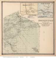 Hopkinton Town, Hopkinton and Fort Jackson Villages, New York 1865 - Old Town Map Reprint - St. Lawrence Co. Atlas