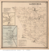 Lawrence Town, Lawrenceville and North Lawrence Villages, New York 1865 - Old Town Map Reprint - St. Lawrence Co. Atlas