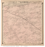 Lisbon, New York 1865 - Old Town Map Reprint - St. Lawrence Co. Atlas