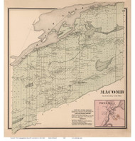 Macomb and Popes Mills Village, New York 1865 - Old Town Map Reprint - St. Lawrence Co. Atlas