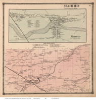 Madrid & Madrid Village, New York 1865 - Old Town Map Reprint - St. Lawrence Co. Atlas
