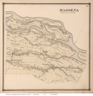 Massena, New York 1865 - Old Town Map Reprint - St. Lawrence Co. Atlas