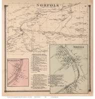 Norfolk Town, Norfolk and Raymondville Villages, New York 1865 - Old Town Map Reprint - St. Lawrence Co. Atlas