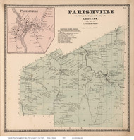 Parishville and Parishville Village, New York 1865 - Old Town Map Reprint - St. Lawrence Co. Atlas