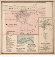 Waddington, Massena, Massena Springs, and Massena Center Villages, New York 1865 - Old Town Map Reprint - St. Lawrence Co. Atlas