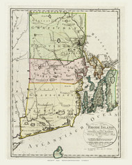 Rhode Island 1796 Sotzmann - Old State Map Reprint