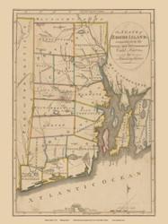 Rhode Island 1814 Harris - Old State Map Reprint