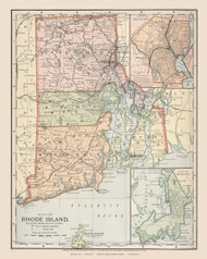 Rhode Island 1891 Appleton - Old State Map Reprint