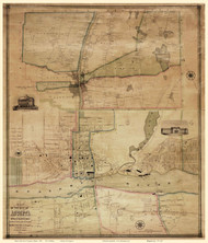 Augusta 1851 Walling - Old Map Reprint - Maine Cities Other
