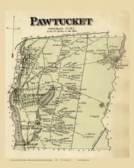 Pawtucket Town, Rhode Island 1870 - Old Town Map Reprint