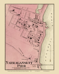 South Kingstown Narragansett - Custom , Rhode Island 1870 - Old Town Map Reprint