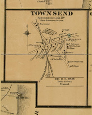 Townsend Village - Appoqinimink, Delaware 1881 Old Town Map Custom Print - New Castle Co.