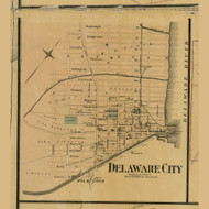 Delaware City - Red Lion, Delaware 1881 Old Town Map Custom Print - New Castle Co.