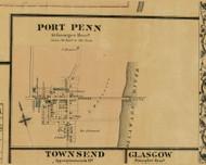 Port Penn Village - St. Georges, Delaware 1881 Old Town Map Custom Print - New Castle Co.