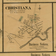 Christiana Village - White Clay Creek, Delaware 1881 Old Town Map Custom Print - New Castle Co.