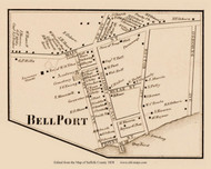 Bellport, New York 1858 Old Town Map Custom Print - Suffolk Co.