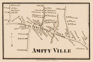 Amityville, New York 1858 Old Town Map Custom Print - Suffolk Co.