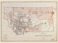 Montana 1879 Williamson - Old State Map Reprint