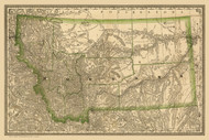 Montana 1881  - Old State Map Reprint