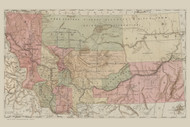 Montana 1884  - Old State Map Reprint