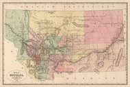 Montana 1886  - Old State Map Reprint