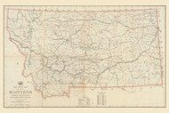 Montana 1922  - Old State Map Reprint