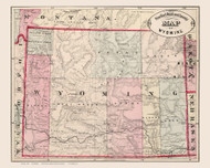 Wyoming 1882 Cram - Old State Map Reprint