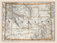 Wyoming 1891  - Old State Map Reprint