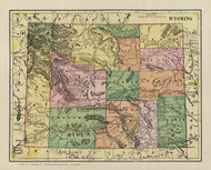 Wyoming 1909 Cram - Old State Map Reprint