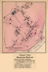 South Freeport Village With Business Notices - Freeport, Maine 1871 Old Town Map Reprint Cumberland Co.