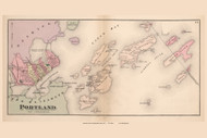 Portland and Islands, Maine 1871 Old Town Map Reprint Cumberland Co.