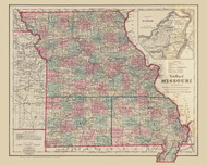 Missouri 1868  Colton - Old State Map Reprint