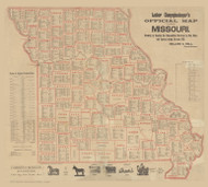 Missouri 1892 Hall - Old State Map Reprint