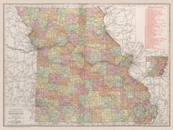 Missouri 1912  - Old State Map Reprint