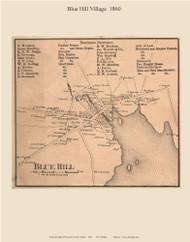 Blue Hill Village, Maine 1860 Old Town Map Custom Print - Hancock Co.