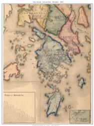 Deer Isle, Isle Au Haut and Brooklin, Maine 1860 Old Town Map Custom Print - Hancock Co.