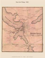 Deer Isle Village, Maine 1860 Old Town Map Custom Print - Hancock Co.