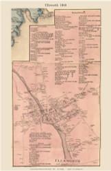 Ellsworth Village, Maine 1860 Old Town Map Custom Print - Hancock Co.
