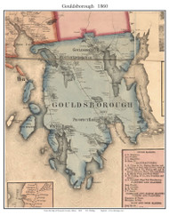 Goldsborough, Maine 1860 Old Town Map Custom Print - Hancock Co.